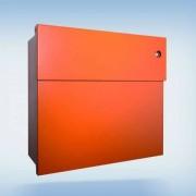 Radius Design Letterman 4 Briefkasten orange (RAL 2009) mit Klingel in rot ohne Pfosten