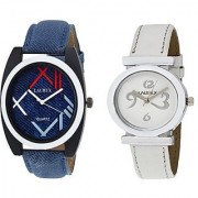Laurex Blue Analog Leather Watches for Lovely Couple Combo-LX-034-LX-028