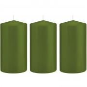 Trend Candles 3x Olijfgroene cilinderkaarsen/stompkaarsen 8 x 15 cm 69 branduren - Stompkaarsen