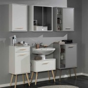 Retro Badezimmer Set in Weiß Buche mit Spiegelschrank (4-teilig)