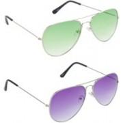 Hrinkar Aviator Sunglasses(Green, Violet)