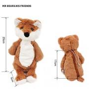 Mr. Bear & His Friends Kawaii Animals Foxes Pencil Purses Soft Plush Fox Half Stuffed Dolls Kids Toys Children Girls Gifts with Zipper Hanging Chain - Brown