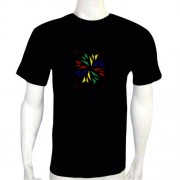 LED Electro Luminescence Fireworks Shaped Sound-Activated Funny Dancing T Shirt 12005