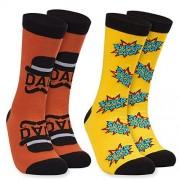 """Toe-Tally Sox Calcetines para hombre, 2 pares de calcetines informales para el día del padre""""Super Dad"""" y diseño de bigote, tamaño US 6 11"""