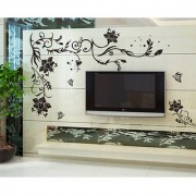 Walltola PVC Multicolor Nature Vinyl Vine Butterflies Corner Sofa Tv Background Wall Sticker (No of Pieces 1)
