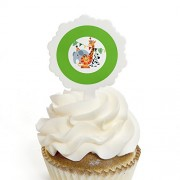 Jungle Party Animals - Cupcake Picks with Stickers -Safari Zoo Animal Birthday Party or Baby Shower Cupcake Toppers-12Ct