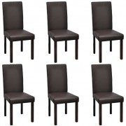 vidaXL 6 pcs Artificial Leather Wood Brown Dining Chair