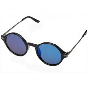 Fastrack P343BU1 Round Mirrored Sunglasses Black / Blue