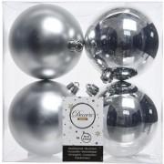 Decoris 4x Zilveren kerstballen 10 cm kunststof mat/glans - Kerstbal