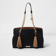 River Island Womens Black quilted tassel chain tote bag