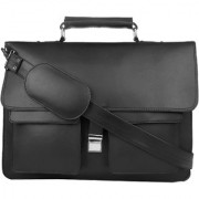 PY Fashion Pu Black Laptop Messenger Bag