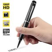 WISE UP 1080P HD Mini Cámara Oculta Bolígrafo Espía Vídeo Grabadora Soporte de Toma de Fotos, Tarjeta de Memoria de 16GB Incorporada