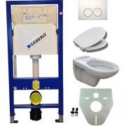 Toiletset Hangend 100-6 Geberit UP100 Inbouwreservoir Glans Wit Wandcloset Softclose Toiletbril Delta-21 Bedieningsplaat Wit