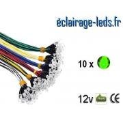 Lot de 10 LEDS vertes câblées 12v DC ref ld-18
