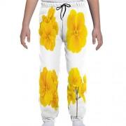 GULTMEE Pantalones de chándal para jóvenes, patrón temático de jardinería con pequeñas Flores Primrose tiernas, S-XL, de colores1, Medium