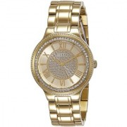 GUESS Gold Stainless Steel Round Dial Analog Watch For Women (W0637L2)