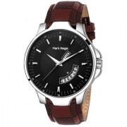 Mark Regal Round Black Dail Brown Leather Strap Analog Watch For Men-MR-DD(02D)