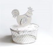 Cestello con presa coperchio a forma di gallo, grande