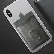 Adhesive Stick-on Phone Holder ID Credit Card Sleeve Leather Pouch For Android & iPhone Smartphones (Black)