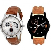 Iron Man And Designer Brown Leather Casual Analog Combo Men's Watch By Google Hub
