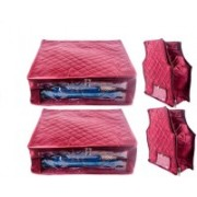 Addyz Sales Designer 5 Inch Height Side Transparent Large Saree and Blouse Organizer et of 4(Maroon)