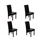 vidaXL 4 x Jedálenská stolička čierna