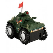 High Quality Tumbling Military Tank For Kids Battery Operated Military Shade Tumbling Tank With Red Top Flashing Light Features Toys For Kids Army Car Toy For Kids Powered High Speed Vehical Indian Army Tank Indian Force Car Toys With Flag For Kids Tank T