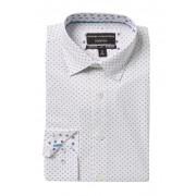 Report Collection Slim Fit Circle Print Dress Shirt 41 NAVY