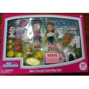 """Kid Connection 5"""" Mini Trendy Tots Play Set Includes Girl Dolls, Puppies, Dog Carrier, Mini Tea Set, Mini Beach Play Set And Puppy Accessories."""