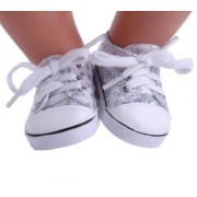 EatingBitingRDolls Lace Up Shoes Silver Laces Up Sequins Sneaker Boot Shoe for 18 '' American Girl Doll Costume, Cute Holidays Birthday Gifts For Kids Children