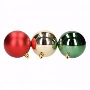 Bellatio Decorations Kerst rood/groene kerstballen mix Traditional Christmas 6 stuks
