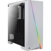 Кутия AeroCool Cylon White RGB, ATX/Micro-ATX/Mini-ITX, USB 3.0, RGB, 1x 120mm вентилатор, четец за SD/microSD карти, прозорец, бяла, без захранване