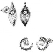 GoldNera Silver Antique Studs Set Of 2 Pair Earrings Leaf Shape Evils Eye Designer Jewellery