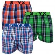 Styx 3PACK pánské trenky Styx sportovní guma vícebarevné (B7100406) L