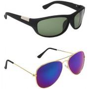Zyaden Green UV Protection Wrap Around Unisex Sunglasses (Pack of 2)