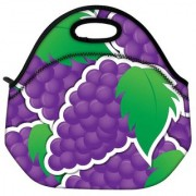 Snoogg Purple Grape Sticker Background Card In Vector Format Travel Outdoor Tote Lunch Bag