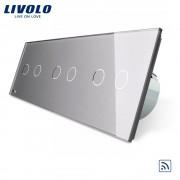Intrerupator dublu+dublu+dublu cu touch Wireless Livolo din sticla, gri