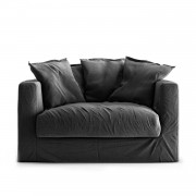Decotique Le Grand Air Loveseat Linne, Carbon Dust
