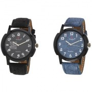 Evelyn Round Dial Multicolor Synthetic Strap Quartz Watch For Men (Combo)