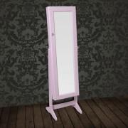 vidaXL Шкаф за бижута с огледало на стойка, цвят розов