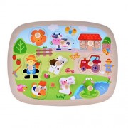 Large Size Farm Animals Wooden Pegged Puzzles