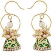 Maayra Pearl Meenakari Earrings Green White Jhumki Wedding Festival Jewellery