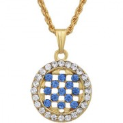 MissMister Gold Plated Round Shape London Blue Coloured CZ and White CZ Fashion Chain Pendant Women Stylish Latest