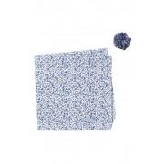 Original Penguin White Floral Pocket Square Lapel Pin Set BLUE
