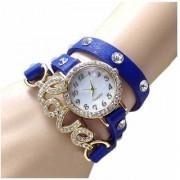 Geneva Blue Love Leather Belt Bracelet Diamond Designing Stylist Looking Analog Watch For Women
