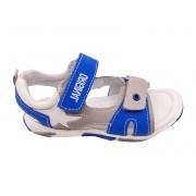 Sandale băieți gri cu albastru din piele naturală