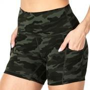 Sunzel Pantalones cortos de yoga para mujer con bolsillos, cintura alta para motociclista, suave, a prueba de sentadillas, entrenamiento atlético para correr, Verde (Green Camo), XL