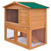 vidaXL Outdoor Rabbit Hutch Small Animal House Pet Cage 3 Doors Wood