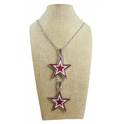 eshoppee Designer Antique Look Lucky Stars red Color Dual Double Locket Pendant with Chain Necklace for Man and Women, Boys and Girls Dog tag. (Antique nk 12)