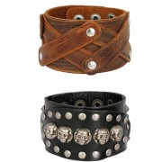 Stylish Denim Funky Punk Black 100 Genuine Handcrafted Leather Wrist Band Combo Pack Of 2 Bracelet Boys Men